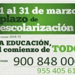 Abierto en Andalucía el plazo para la escolarización en el curso 2014/15