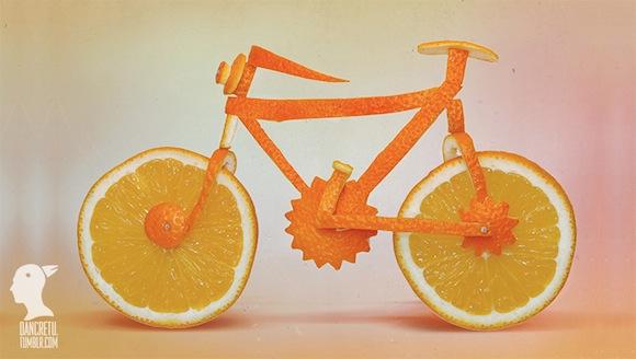 Bicicleta hecha con naranja