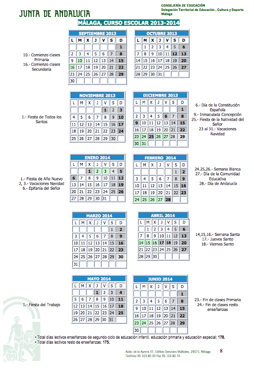 Calendario escolar Málaga 2013 2014