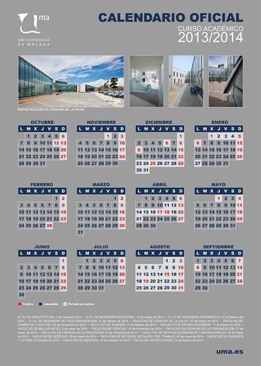 Calendario de la Universidad de Málaga 2013 2014