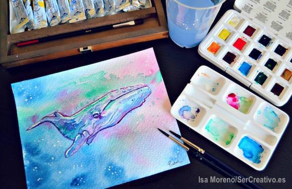 Pintando una ballena a acuarela