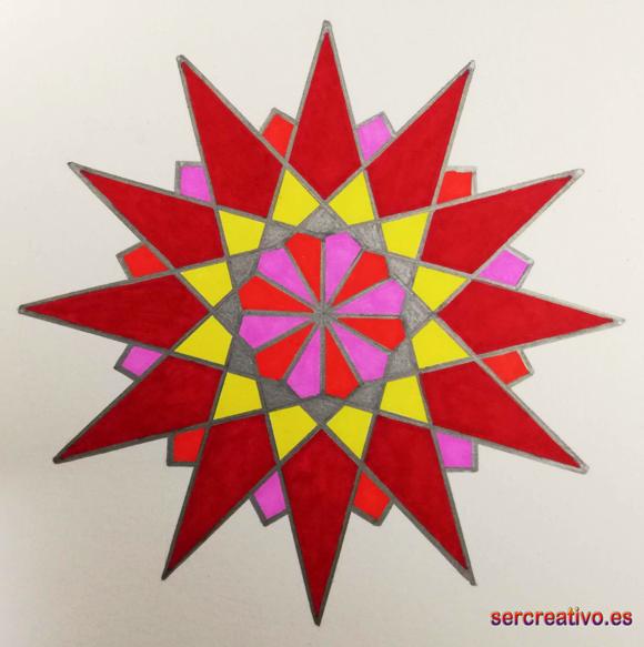 Estrella de doce puntas coloreada