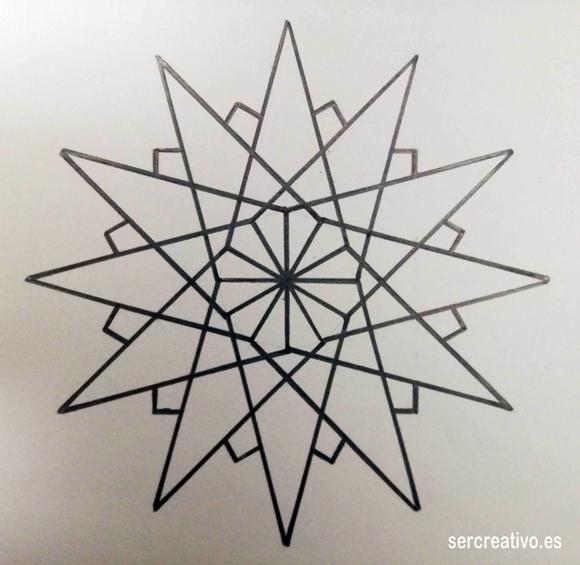 Estrella de doce puntas para colorear