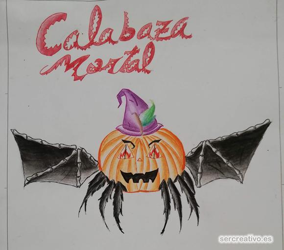 Calabaza Mortal de Halloween, dibujo de primero de ESO de Cártama