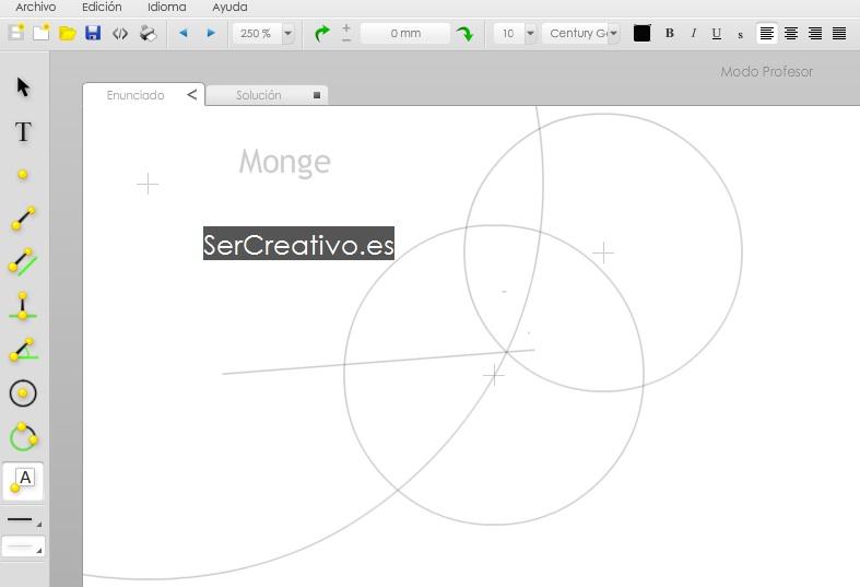 Monge aplicación online de Dibujo Técnico