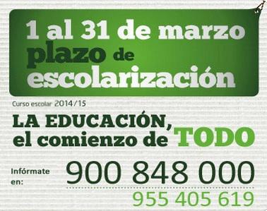 El 1 de marzo comienza el proceso de escolarización en Andalucía para el curso 2014/15