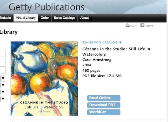 Libros de arte gratis en Getty
