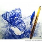 Dibujo de perro hecho a boli