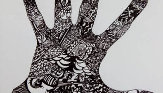 Mano Zentangle con cara