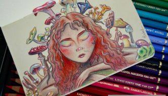 Dibujo a lápiz coloreado con Polychromos de Faber Castell, en cuaderno Moleskine
