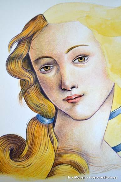 Obra de Isabel Moreno basada en  El nacimiento de Venus pintada por Sandro Botticelli entre 1482 y 1485