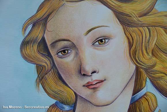 lavoro Isabel Moreno sulla base di La nascita di Venere di Sandro Botticelli dipinto tra il 1482 e il 1485